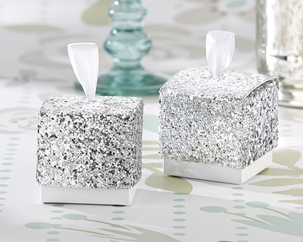 """Sparkle and Shine"" Silver Glitter Favor Boxes (Set of 24)"