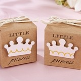 """Little Princess"" Kraft Favor Box w/ Pink Crown (Set of 24)"