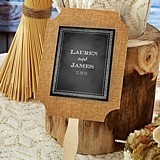 Kate Aspen Personalized Chalkboard Motif Burlap Hand Fans (Set of 12)