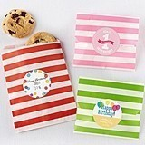 Personalizable Striped Favor Bags - Child's Birthday (Set of 25)