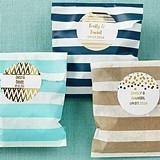 Personalizable Striped Favor Bags - Gold Foil Designs (Set of 25)