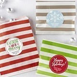 Personalizable Striped Favor Bags - Holiday (8 Colors) (Set of 25)
