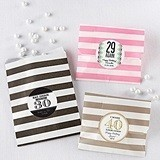 Personalizable Striped Favor Bags - Milestone Birthday (Set of 25)