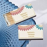 Kate Aspen Personalized Matchbooks - Indian Jewel Motif (Set of 50)