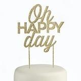 "Kate Aspen Gold Glitter ""Oh Happy Day"" Acrylic Cake Topper"