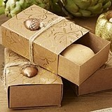 Kate Aspen Gold Foil Leaf Favor Boxes with Acorn Charms (Set of 24)