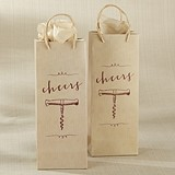 Kate Aspen Script Cheers and Corkscrew Design Wine Bags (Set of 12)