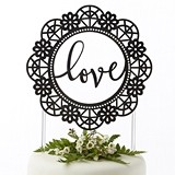"Kate Aspen Script ""Love"" Lasercut Lace Design Cake Topper"