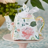 Kate Aspen Tea Time Floral Motif Teapot-Shaped Favor Boxes (Set of 24)