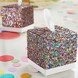 Kate Aspen Multi-Colored Glitter Favor Boxes with Pulls (Set of 24)
