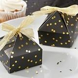Stylish Black & Gold Foil Dot Pyramid-Shaped Favor Boxes (Set of 24)