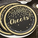 """Cheers!"" Gold Foil Party Time Paper Plates (Set of 8)"