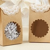 Kate Aspen Rustic Lace-Topped Kraft Tent Favor Boxes (Set of 12)