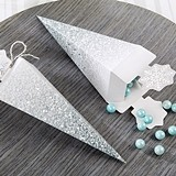 Kate Aspen Silver Glitter Snowflake Cone-Shape Favor Boxes (Set of 12)