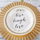 """Live Laugh Love"" Gold Foil Paper Plates (Set of 8)"