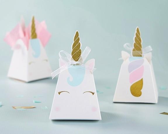 Kate Aspen Gold-Horned Unicorn Favor Boxes (Set of 12)