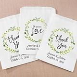 Kate Aspen Personalized Botanical Design White Goodie Bags (Set of 12)