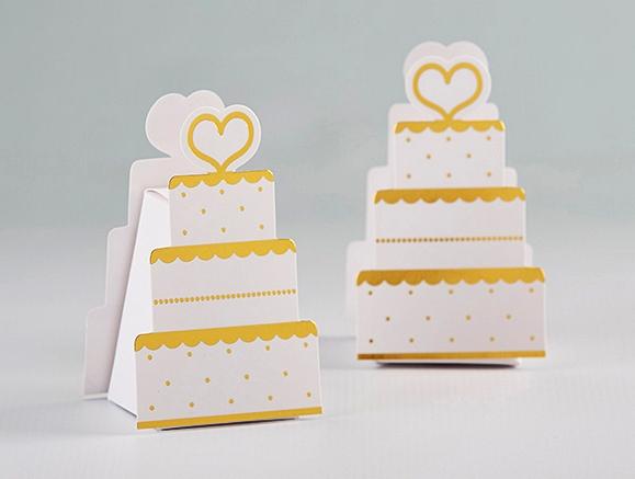 Kate Aspen Gold Foil Wedding Cake Shaped Favor Boxes Set Of 12