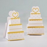Kate Aspen Gold Foil Wedding Cake-Shaped Favor Boxes (Set of 12)