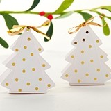 Kate Aspen Gold Dotted Christmas Tree Shaped Favor Boxes (Set of 12)