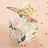 Kate Aspen Gold-Foil Butterfly-Topped Floral Favor Boxes (Set of 12)