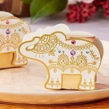 Lucky Golden Elephant Favor Boxes with Rhinestone Accents (Set of 12)