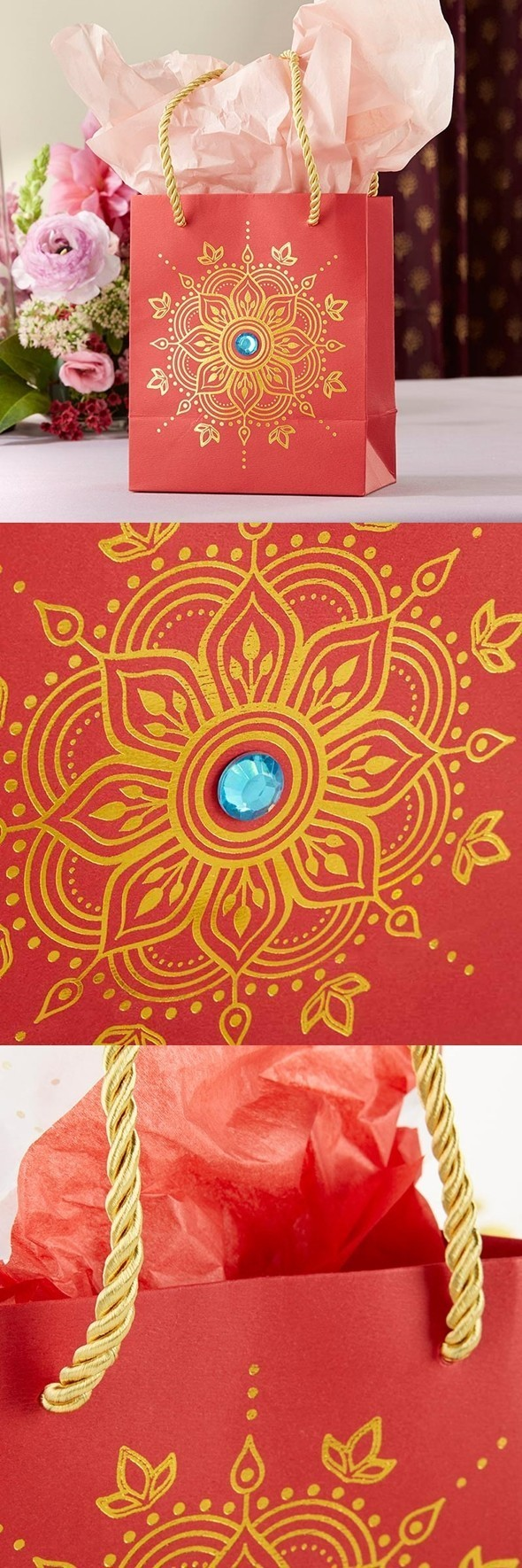 Kate Aspen Indian Jewel Henna Design Red Textured Gift Bags (Set of 6)
