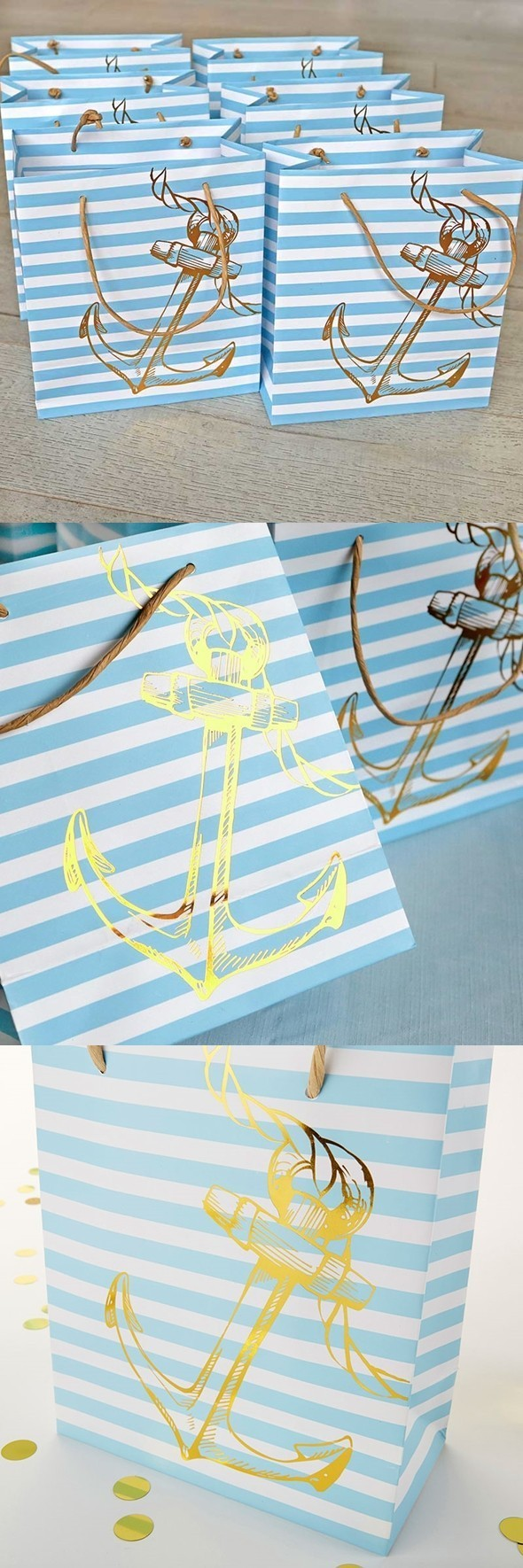 Kate Aspen Nautical Anchor Design Striped Welcome Bags (Set of 6)