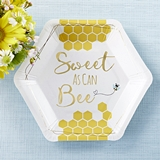 Kate Aspen Sweet As Can Bee 7 in. Premium Paper Plates (Set of 16)