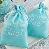 Engagement Ring Motif 'Something Blue' Muslin Favor Bags (Set of 12)