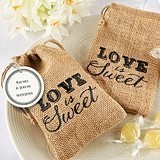 Love is Sweet Burlap Favor Bags with Personalized Tags (Set of 12)