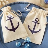 Kate Aspen Personalizable Voyages Anchor Muslin Favor Bags (Set of 12)