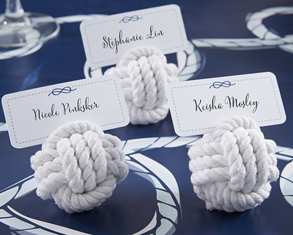 """Nautical Rope"" Cotton Knot Place Card Holders (Set of 6)"
