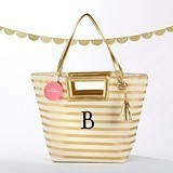 Kate Aspen Personalizable Striped Metallic Gold Tote with Tassel