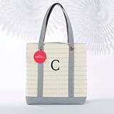 Kate Aspen Monogrammable Silver Scallop Design Canvas Tote Bag