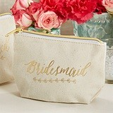 Kate Aspen Gold Foil Bridesmaid Canvas Makeup Bag with Gold Zipper