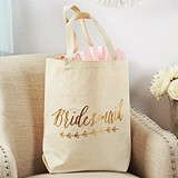 Kate Aspen Personalizable Gold Foil Bridesmaid Canvas Tote Bag