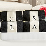 Kate Aspen Classic Black and White Monogram Quilted Makeup Bag