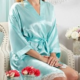 Kate Aspen Personalizable Lace-Trimmed Kimono Robe in Aqua Blue
