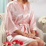 Kate Aspen Personalizable Lace-Trimmed Kimono Robe in Pink