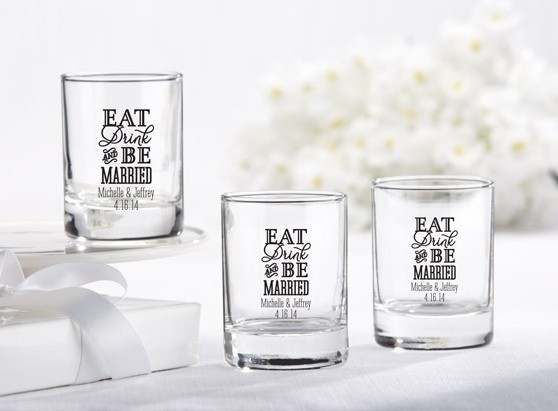 Eat, Drink & Be Married Motif Personalized Shot Glass/Votive Holders