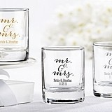Elegant Script Mr & Mrs Design Personalized Shot Glass/Votive Holders