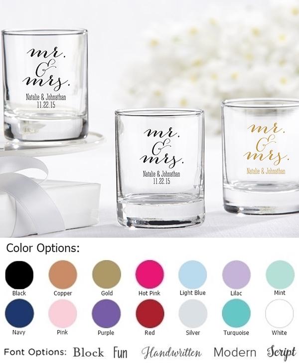 Elegant Script Mr & Mrs Design Personalized Shot Glass/Votive Holders