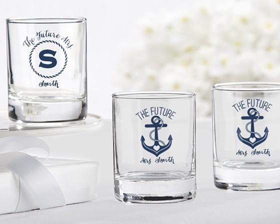 personalized nautical bridal shower shot glassvotive holder