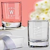 Kate Aspen Personalized Rustic Bridal Shower Shot Glass/Votive Holder