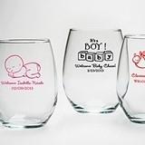 Kate Aspen Baby Shower 9 oz. Personalized Stemless Wine Glass