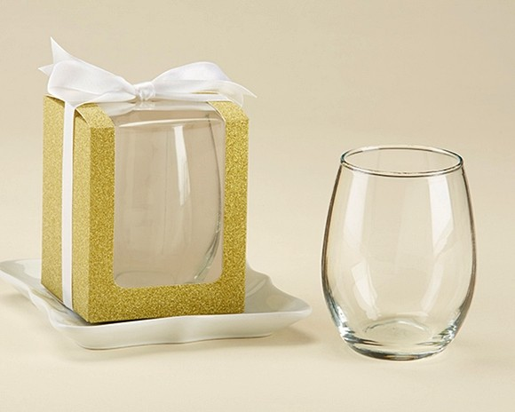 Gold Glitter 9 Oz Stemless Wine Glass Display Gift Boxes