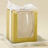 Gold Glitter 9 oz. Stemless Wine Glass Display Gift-Boxes (Set of 12)
