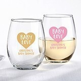 Kate Aspen Personalized 9 oz. Stemless Wine Glass w/ Baby Love Design