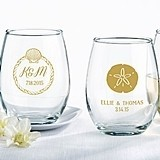 Personalized 9 oz. Stemless Wine Glass (Beach Tides Designs)